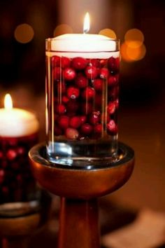 Cranberries, Water, Votives = Festive Elegance