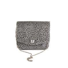 Leopard Silver square clutch