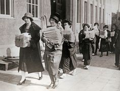 Photograph from the 1920s of Japanese women bringing petitions to the Imperial diet requesting the right to vote.