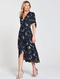 a55685b657f4 Oasis Oasis Bouquet Bird Tie Sleeve Wrap Midi Dress   very.co.uk Gala