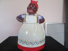 Nice Vintage Black Americana Sassy Mammy Cookie Jar Signed Brayton 1940's