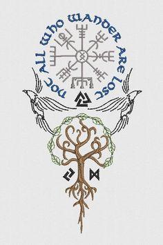 All Who Wander x 8 sizes Machine Embroidery - Tattoo-Ideen Art Viking, Viking Symbols, Viking Runes, Nordic Symbols, Mayan Symbols, Egyptian Symbols, Ancient Symbols, Ethnisches Tattoo, Body Art Tattoos