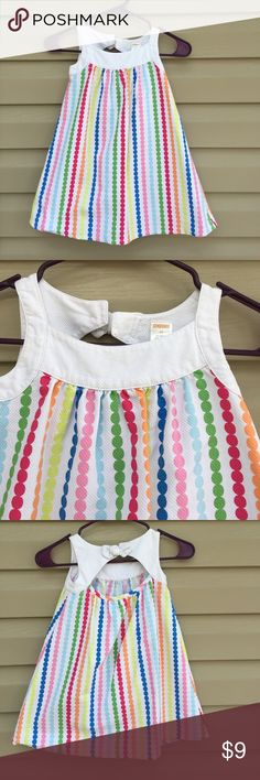 Gymboree girls white sleeveless dress Very nice waffle weave dress with vertical , multi colored, stripes of circles, with white trim buttons at neck in back under white bow 100% cotton, no snags, stains, or holes Gymboree Dresses Casual