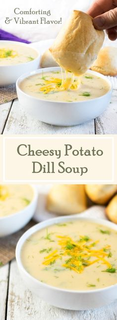 Cheesy Potato Dill Soup Recipe This Cheesy Potato Dill Soup features spoonfuls of velvety potatoes and comforting Cheddar cheese intermingled with bright punches of dill. Dill Recipes, Crockpot Recipes, Cooking Recipes, Recipies, Skillet Recipes, Pizza Recipes, Cooking Gadgets, Kitchen Gadgets, Yummy Recipes