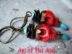 Day of the Dead Earrings. Sugar Skull Jewelry, Mexican Diva, Dia Del Los Muertos, Zombie Land, Frida Kulo. $12.00, via Etsy.