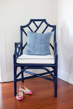cute as a button blue and white chair with leopard pillow – Home Office Design For Women Bamboo Furniture, Painted Furniture, Home Furniture, Bamboo Chairs, Chair Makeover, Furniture Makeover, Chippendale Chairs, House And Home Magazine, White Decor