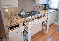 10 efficient ideas for the kitchen! Find your ultimate kitchen plan at http://www.dongardner.com/Ultimate_Kitchens.aspx. #Kitchen #Storage #Ideas
