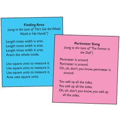 Here are two songs for helping students learn about area and perimeter.
