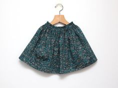 Dark turquoise toddler girls flower skirt with rufled waist on elastic with one pocket, for 4 years old girl (Angelica Garla Tana Law by Liberty Art Fabrics) by ZanziBach