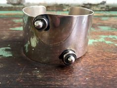 ORB Otto Robert Bade Sterling Modernist Cuff Bracelet Abstract Circles 46.5 g by Holliezhobbiez on Etsy