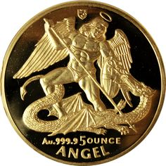 1994 5 oz Proof Gold Isle of Man Angel http://www.gainesvillecoins.com/