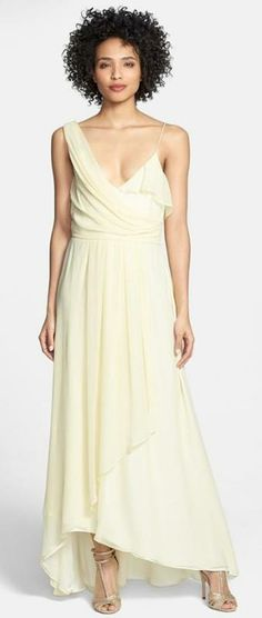 Jill Jill Stuart Asymmetrical Chiffon Dress available at Affordable Wedding Dresses, Affordable Clothes, Beautiful Gowns, Beautiful Outfits, Silk Chiffon, Chiffon Dress, Party Dress Outfits, Maxi Robes, Altering Clothes
