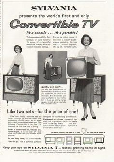 "1958 SYLVANIA TV vintage magazine advertisement ""Convertible TV"" ~ Sylvania presents the world's first and only Convertible TV - It's a console ... it's a portable! To harmonize with the furnishings of your favorite TV room, it's a beautiful console ..."
