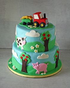Farm Themed Cake with a Tractor Cake Topper