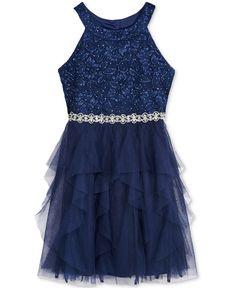 Sequin Hearts Lace & Mesh Halter Dress, Big Girls (7-16)