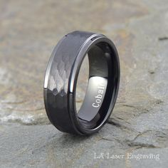 Cobalt Wedding Band Mens Black Ring Custom Made Rings Bands Beveled 8mm Handmade Anniversary