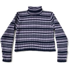 90's Chunky Ribbed Striped Turtleneck Sweater Top ($40) ❤ liked on Polyvore featuring tops, sweaters, purple turtleneck sweater, striped turtleneck, turtle neck crop top, vintage crop top and crop top