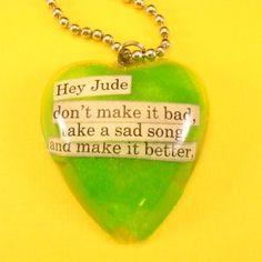 Hey Jude The Beatles lyrics resin necklace  by CBTsCloset on Etsy