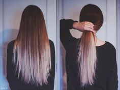 Long, straight. Proper view of dip-dye gradation from behind. Brown fades to peroxide blonde/lilac(?). #ombre