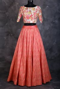 Printed crop top with coral skirt. Exclusively designed by Joe mansoori.