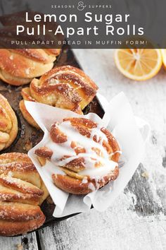 These absolutely delicious Lemon Pull-Apart Sweet Rolls bake up easily in muffin tins for individual servings. Citrus Recipes, Brunch Recipes, Dessert Recipes, Desserts, Pastry Recipes, Bread Recipes, Baking Recipes, Sweet Roll Recipe, Muffin Tins