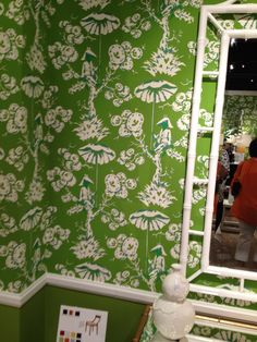 High Point Market Spring 2012-Loving Meg Braff's Chinoiserie Wallcovering in Apple and Kelly Greens at the Bungalow 5 Showroom!