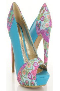 Turquoise Faux Leather Printed Fabric Peep Toe Heels