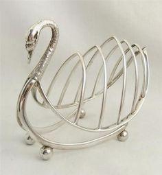 antique hallmarked sterling silver swan toast rack - 1899