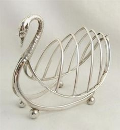 antique hallmarked sterling silver swan toast rack - 1899