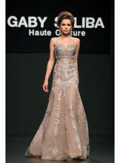 $179 Custom Made gaby saliba floor length soft tull lace appliques prom dresses evening dresss from 27dress.com