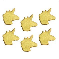 Spiselig, Gullenhjørningshode 6 stk. Perfekt til å ha som pynt på Cupcake eller kaker.Sukker, Potetstivelse, Risstivelse, Emulgator (E466-Karboksimetylcellulose), Fortykningsmiddel (E414-Gummi arabikum). Fargestoffer: E120, E162
