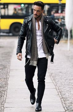 Men's Street Style Inspiration Ideas - Men - Street Man Street Style, Men Street, Urbane Mode, Stylish Men, Men Casual, Look Casual, Casual Styles, Moda Blog, Leather Jacket Outfits