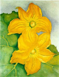 Georgia O'Keeffe: Squash Blossoms. Beautiful in its simplicity but yet shows a lot of detail. Love love love watercolor.