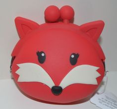 BATH BODY WORKS RED FOX LIP GLOSS HOLDER MAKEUP BAG COSMETIC COIN PURSE WALLET