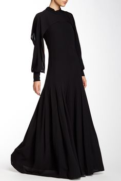 Silk Cape Sleeve Pleated Gown by Yigal Azrouel on @nordstrom_rack