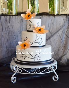 - Painted cake and orange flowers,