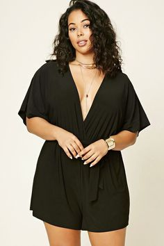 Plus size surplice romper plus size fashion большие размеры, Plus Size Romper, Plus Size Dresses, Plus Size Outfits, Plus Size Looks, Plus Size Model, Curvy Women Fashion, Plus Size Fashion, Womens Fashion, Molliges Model