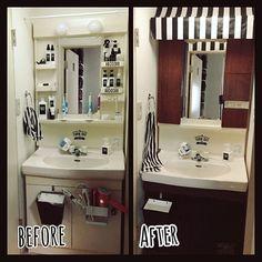 女性で、のmt CASA/マスキングテープ/Can★Do/白黒/モノトーン/賃貸…などについてのインテリア実例を紹介。「洗面台をいじってみた。 左右の扉はダイソーのカラーボードにキャンドゥのインテリアシートを貼って作りました。結構ハリボテですが一応ちゃんと機能します…」(この写真は 2016-12-04 14:45:05 に共有されました)