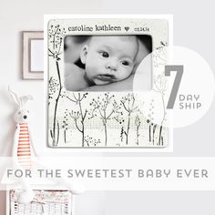 Hand painted, personalized pottery gifts for your little sweetie pie. Shipped in 7 days now through Christmas. http://www.musewarepottery.com/baby-newborn/babys-breath-photo-frame/