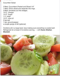 Cucumber salad – It& in the fridge marinating right now… Yummy! by viola - Cucumber Recipes, Veggie Recipes, Salad Recipes, Cooking Recipes, Healthy Recipes, Cucumber Tomato Salad, Cucumber Salad Vinegar, Marinated Cucumbers, Onion Salad