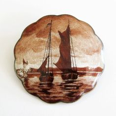 Antique Marius Hammer Brooch 930 Silver Guilloche Enamel Sepia Watercolor Sailing Scene  As Is from Quick Red Fox on Ruby Lane