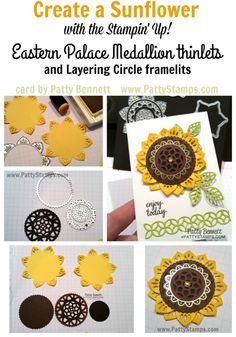 Tutorial to Create a sunflower with the Stampin' Up! Eastern Palace Medallion thinlits and gold vinyl stickers!  by Patty Bennett