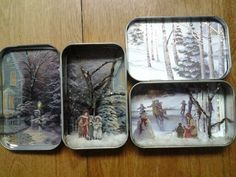 Miniature Art in Tins. could make these with old christmas cards. or Christmas cards from the dollar store? Christmas Projects, Holiday Crafts, Christmas Crafts, Christmas Decorations, Christmas Ornaments, Christmas Christmas, Altered Tins, Altered Art, Crafts To Make