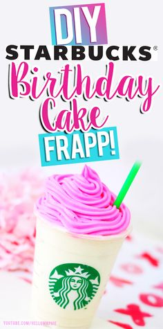 DIY Starbucks Birthday Cake Frappuccino! Learn how you can make your own B-DAY Cake frapp at home with few ingredients that your probably already have in your home! Super EASY