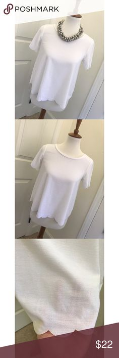 TOPSHOP scallop blouse - Size 4/M - I don't trade or sell outside of posh. - I ship every single day!  - All items come from a smoke free home!  - If you have anymore questions just let me know and I would be happy to help! 🙂 Topshop Tops Blouses