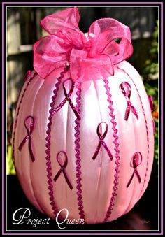 Breast Cancer Awareness Pumpkin by TeriSue // #PinkOut for October - #BreastCancerAwarenessMonth