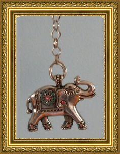 Elephant Fan Pull / Home Decor - Silver Link Chain - Silver Elephant