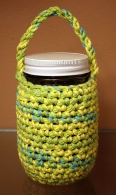 "Mason Jar cozy. Pinner says ""Since I use mason jars for all of my drinks on the go, this would be a nice insulator as well as a carrier. Plus it will absorb condensation during the humid months!"" New Project please!!"