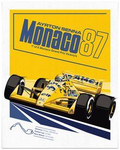 Ayrton Senna 1987 Monaco Poster by Sean Kane Design