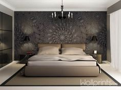 Wallpaper/ Modern luxury elegant bedroom interior, chandelier front